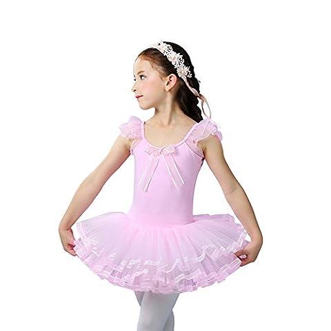 KKia Enfant Bébé Fille Justaucorps de Danse Gym Classique Ballet Manches Courtes Frourfrous Tutu Robe Performance 2-6 Ans