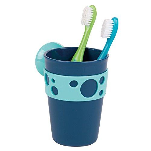 Kinder-halter (mDesign Zahnputzbecher – Design Zahnputzbecher mit Sauggriff aus PVC – Zahnbürstenhalter in schönem Blau)