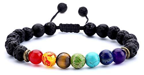 J.Fée 8mm Natürliche Edelstein perlen Armbänder Yoga Stein Armband Unisex Stretch/Einstellbar Armbänder für Damen und Herren (gewebte-Chakra)