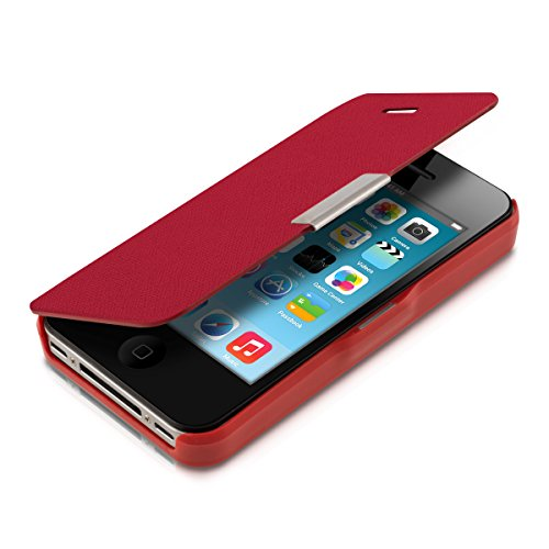kwmobile Flip Case Hülle für > Apple iPhone 4 / 4S < - Aufklappbare Schutzhülle Tasche im Flip Cover Style in Rot