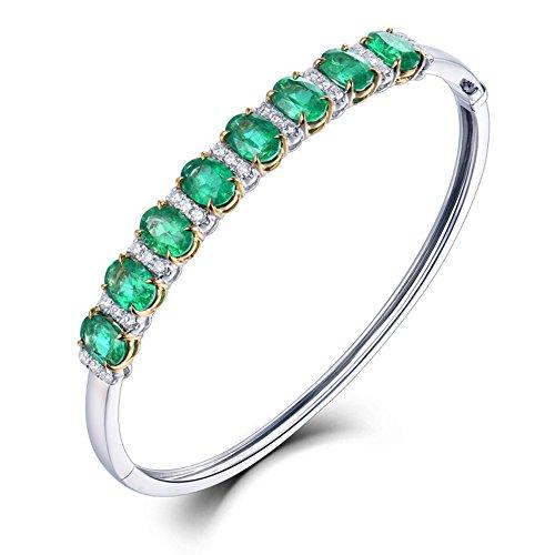 Massive 18Karat zweifarbig Gold Diamant Smaragd Armband Armreif feinen Schmuck Hochzeit