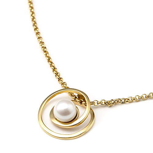 Heideman Halskette Damen Perlanhänger aus Edelstahl Gold farbend matt Kette für Frauen mit echter Süßwasserperle Weiss rund 6mm