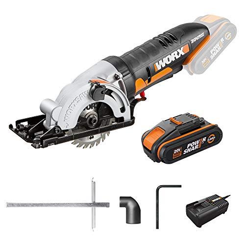 WORX 20V Akku-Kreissäge WX527, Powershare, 2,0Ah, 85mm Einstechen, Einhandbedienung, Schnitttiefe 27 mm, schnelle Tiefeneinstellung, 2500 / min, 18V