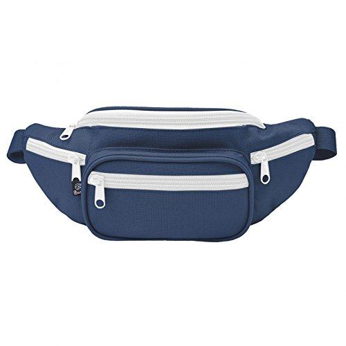 Gürteltasche 5 Taschen Bauchtasche dunkelblau/weiß