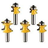 Promisy 5 Stück Halbrunde Lager Fräser Bits 1/2 Zoll Schaft, Bullnose Fräser Set mit C3 Hartmetall bestückt 1/2 runde Kugelklinge.