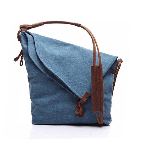 LF&F Retro Unisex Leinwand / Leder Schulter Messenger Bag Aktenkoffer Mehrzweck-Outdoor-Wanderreise Crossbody Tasche Schule TäGlicher Gebrauch C