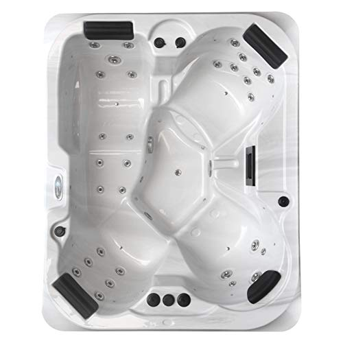 perfect-spa Whirlpool Atlanta Gecko Air Control Indoor/Outdoor 4 Personen Whirlpools Aussenwhirlpool Hot Tub Spa Außenwhirlpool Gecko Steuerung (Wanne SkyWhite, Außenverkleidung Schwarz)