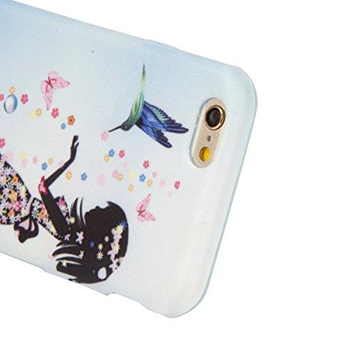 iPhone 6S Hülle, iPhone 6 Hülle, iPhone 6 / 6S Silikon hülle Tasche mit Schwarz Don't Touch My Phone Malerei Muster, SainCat Protective Silikon Hülle Case Tasche Handyhülle [Kratzfeste, Scratch-Resist Nettes Mädchen