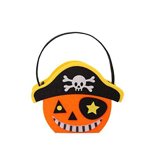 (Amosfun Halloween Kinder Süßigkeiten Taschen Handtaschen Non-Woven Candy Taschen Party Favors (Piraten Kürbisse))