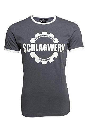 SCHLAGWERK Premium Box T- Shirt Herren 100% Baumwolle, Aluminium-Grau in Größe XL