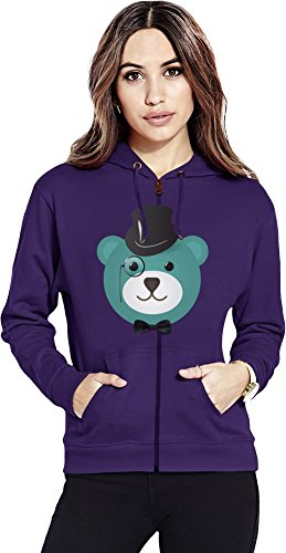 Fancy bear Womens Zipper Hoodie X-Large (Bear Zip Hoodie Womens)