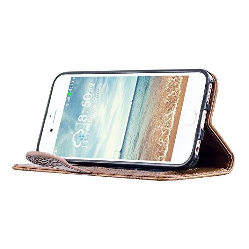 Coque iPhone 6 Etui Cuir, Housse iPhone 6S Folio Case, Moon mood® 3D Cas en PU Cuir pour Apple iPhone 6 4.7 pouces Telephone Portable Coque Housse Fermeture Magnétique Fente pour Carte Support Stand C 2-Marron
