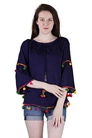 Jollify Women's Blue Rayon Embroidered Top-S