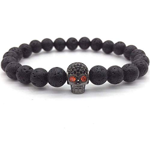 Armband Armreif,Schmuck Geschenk,Skull Men Bracelet Fashion Vintage Bracelet Men Simple Charm Classic Stone Beads Bracelet for Men Jewelry Gift - Loom Organizer Armband