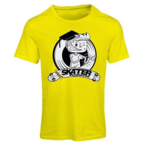 Frauen T-Shirt Professionelle Skate-Akademie Graduierung - Für Skater - Skateboard - Longboard, Geschenke für den Skater (Medium Gelb Mehrfarben)