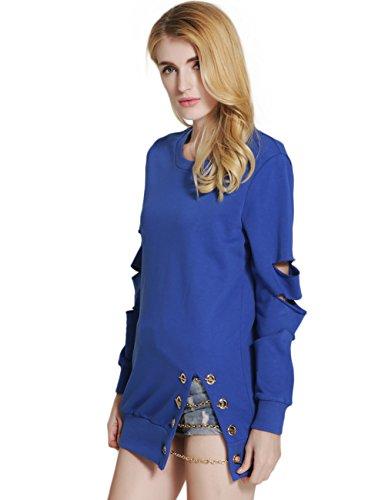 SunIfSnow - Sweat-shirt - Uni - Manches Longues - Femme Bleu