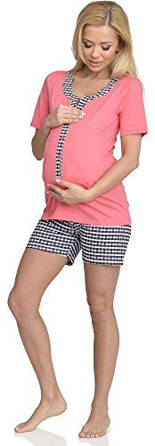 Be Mammy Femme Allaitement Ensemble de Pyjama Justine Corail-1