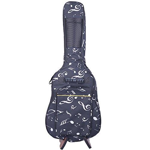 KingPoint-Oxford-Gitarren-Tasche - gepolstert. Passt für die Größe 39/40/41 - mit doppelt verstellbaren Schulter-Rucksackriemen. Music Notes Pattern