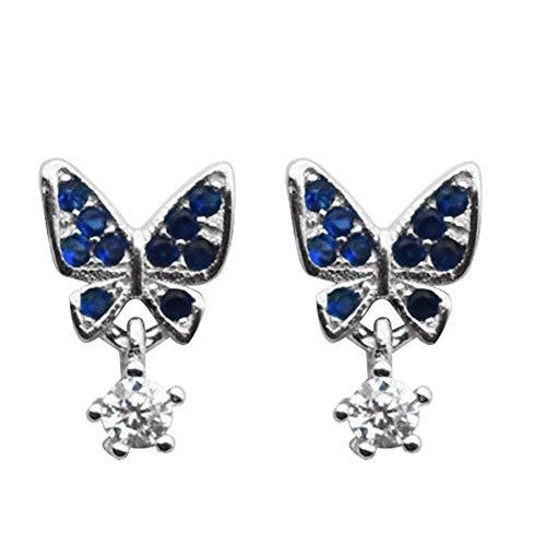 Onefeart Plata de ley 925 Aretes Para mujeres niñas Redondo Zirconia cúbica Mariposa Forma Mori Style 6.5MMx10MM Plata