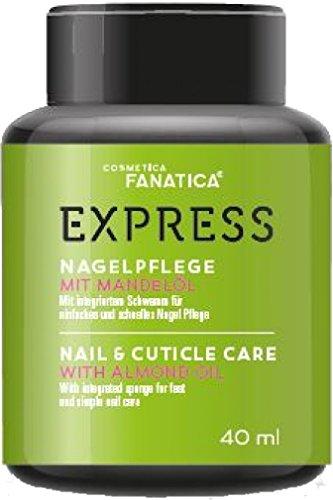 Express Soin des ongles avec huile d'amande 40 ml, dans un dispend pratique boîte avec éponge intégré.