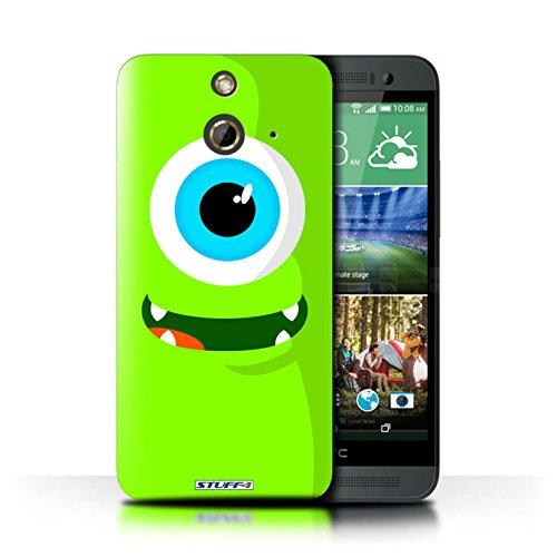 Kobalt® Imprimé Etui / Coque pour HTC One/1 E8 / Bleu conception / Série Monstres Vert