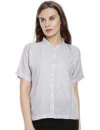 Bombay High Women Grey & White Striped Shirt