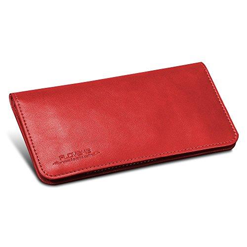 FLOVEME Universal Geldbörsen Brieftasche Handyhülle aus Echt Leder Premium Book Wallet 2 in 1 Schutzhülle Folio Cover mit Karte Slots 5.5 Zoll Rot