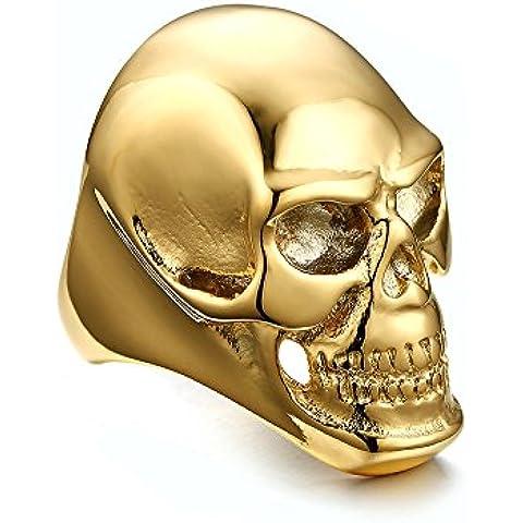 Anillo de joyas gótica, anillo estilo punk cráneo de noche (los ojos en azul metálico a la demanda), placa oro 10K, tamaño # 10/0.5t Unisex