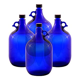 Glass balloon Bottle Gallon Blue glass Bottle 2 Liter or 5 Liter Screw cap Synthetic black - Henk eleven tab blue glass, ideal for Aquadea Crystal - Swirl Water, Two Litre or Five Litre - 4 x 5 Liter