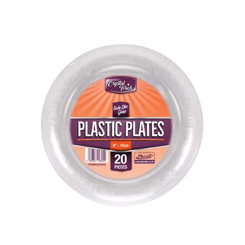Klar Kunststoff Einweg Party Teller Hart, extra stark hochbeanspruchbar wiederverwendbar Teller, plastik, durchsichtig, Desert Plates (6