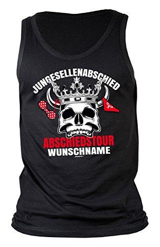 Herren/Träger-Shirt/Tank Top Thema Junggesellenabschied: Junggesellenabschied Abschiedstour Wunschname Schwarz