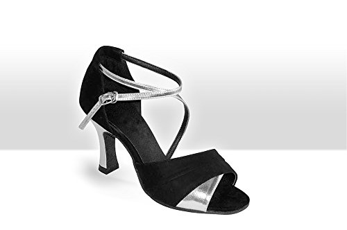 Exclusive Dance Shoes Damen Tanzschuhe, schwarz-silber, 55mm Absatz Schwarz
