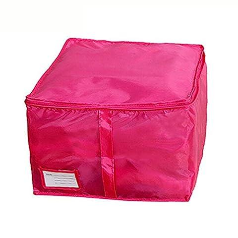 ZHOUBA Literie Oreillers à couette Fermeture à glissière Foldable sous le lit Boîte à rangement à vêtements Boîte Hand Handles Luggage size S (Rose)