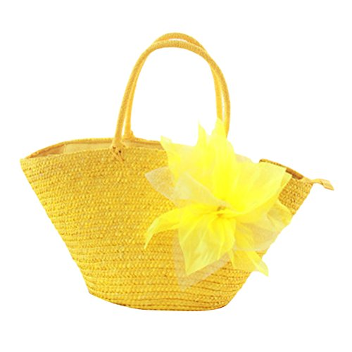 Zhhlaixing Casual Korean Style Flowers Woven Garden Pastoral Silk Flowers Fashion bags Bolsa hermosa especial Borsa speciale speciale for Women Yellow
