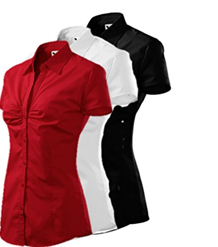 Adler 3er Pack Bluse Für Damen Damenhemd Chic Kurzarm (XX-Large, Rot Weiß Schwarz)