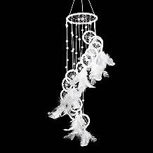 Atrapasueños Demiawaking Blanco Polycyclic Dream Catcher Plumas de Pared Colgante Decoración del Coche de Casa
