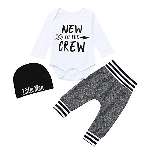 i-uend Baby 2019 New 3Pcs Outfit Sets - Kleinkind Baby Long Sleeves Brief Strampler Overall + Hosen + Hut Mütze Set Outfit für 3-24 Monate