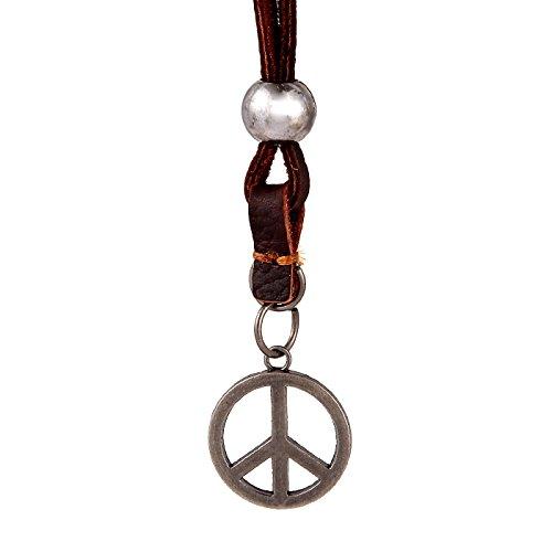 DonDon® Herren Halskette aus Leder braun mit silberfarbenen Peace Zeichen-Anhänger und Samtbeutel (Zeichen Für Männer Peace Halskette)