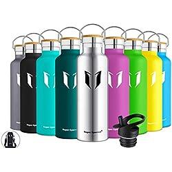 Super Sparrow Botella de Agua aislada al vacío de Acero Inoxidable, diseño de Pared Doble, Boca estándar - 500ml - Eco Friendly & BPA Gratis - para Correr, Gimnasio, Yoga, Ciclismo