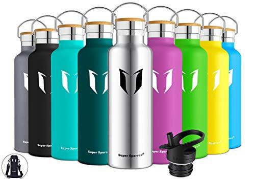 (Super Sparrow Trinkflasche Edelstahl Wasserflasche - 500ml - Isolier Flasche mit Perfekte Thermosflasche für Das Laufen, Fitness, Yoga, Im Freien und Camping | Frei von BPA (Edelstahl))