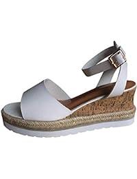 85ca8cd745e Plataforma de Tobillo con Punta Abierta para Mujer Retro Zapatos para Mujer  Sandalias Romanas
