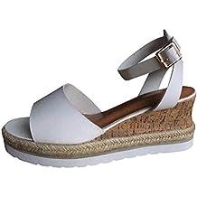 Plataforma de Tobillo con Punta Abierta para Mujer Retro Zapatos para Mujer Sandalias Romanas