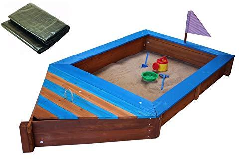 Coemo Sandkasten Boot-Form Blau inkl Abdeckplane Piraten-Schiff Holz Holzsandkasten Stauraum