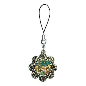 Giftjewelryshop bronzo antico stile retrò il lutto del Cristo Art photo Sun Flower tracolla catenella, ciondolo fascino del telefono cellulare