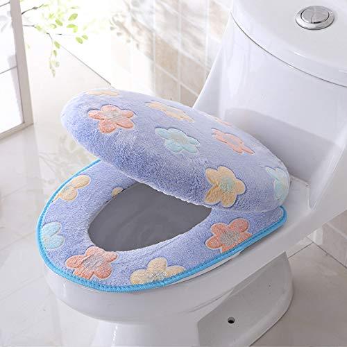 XING GUANG Cute Toilettensitzkissen 2-Teiliges Set Toilettenset 2er Mit Deckel Toilettensitz Koreanische Version der Europäischen U-förmigen Matte,Blue