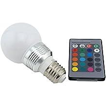 Bonlux Lampadina LED RGB 3W Attacco E27 Edison ES Vite 15 Cambia Colori + Luce Bianca Multipli Lampada Bulbo a LED Illuminazione Dimmerabile GLS Luce con Telecomando Luce d'atmosfera per Decorazione Domestica / Bar / Party / Illuminazione Ambientale di Atmosfera di KTV [Classe di efficienza energetica A+]