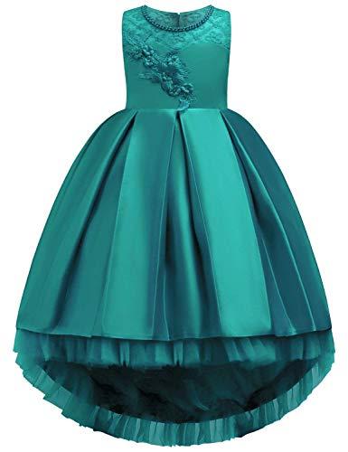 OBEEII Prinzessin Kleid Kinder Mädchen Festlich Elegante Satin Floral Plissee High-Low Kleider für...