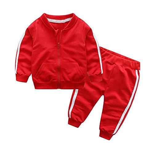 XXYsm Baby Mantel Outfits Jungen Jacke Lange Ärmel Tops + Hosen Sport Coat Bekleidungsset Outwear Kleidung Set Rot ❤90/12-18 Monate (Jacke Kinder Kostüm)