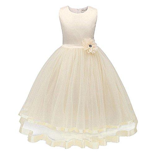 ❤️Kobay Blume Mädchen Prinzessin Brautjungfer Festzug Tutu Tüll-Kleid Party Hochzeit Kleid (Beige, 110/3 Jahr)