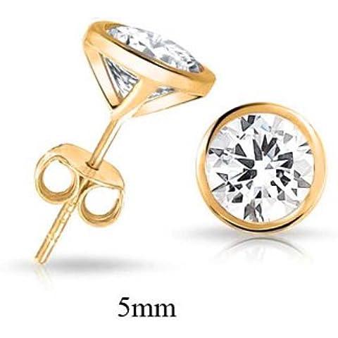 Bling Jewelry Mens CZ Martini Set Oro Vermeil lunetta Orecchini a 5 millimetri